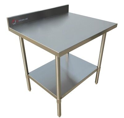 "EQ Stainless Steel Kitchen Restaurant Work Prep Backsplash Table 24""X30""X34"""