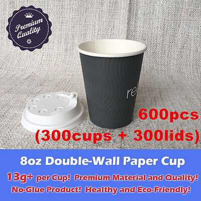 600pcs/300sets 8oz Disposable Coffee Grey Paper Cups Double Wall W/Lid Takeaway
