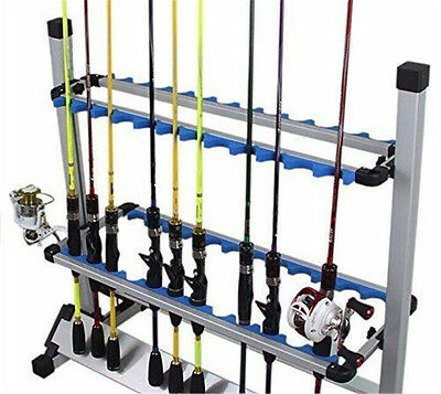 Fishing Rod Rack Holder Stand 24 Slot Alloy Metallic Silver Best Price Fast Ship