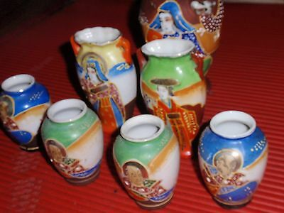 Lot Of 7 Vintage Porcelain  Small Vases Occupied Japan Satsuma Moriage