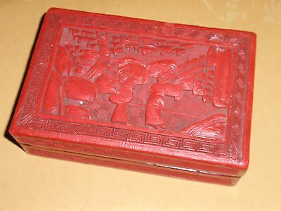 Antique Chinese Cinnabar Hand Carved Lidded Box  5.5 X 3 5/8 Inches