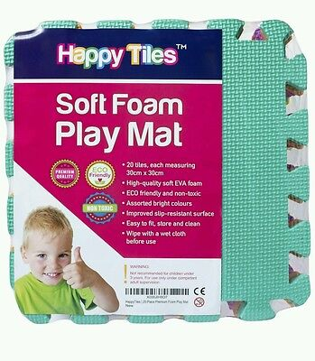 20 HAPPY TILES Kids Play Flooring Foam Coloured Interlocking Play Mats