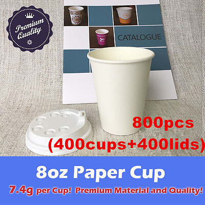 800pcs/400sets 8oz Disposable paper cups with lids White 7.4g Material Takeaway