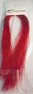 Hook'em Tinsel Flash Hair Deep Red - Fly Tying Materials, Snapper, jig assist