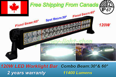 24inch 120w Led Light Bar Spot Flood Combo Work Boat UTE Truck SUV Tracteur 12V