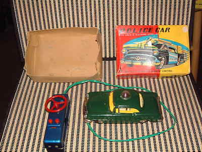 Vintage, Fully Tin & Fully Working Teathered Remote Control Police Car In Box!