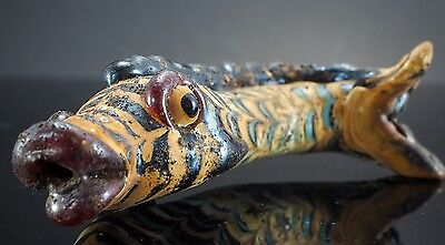 Lovely Marble Scale Red Fin Islamic Glass Phoenician Dragon Fish Bead Statue