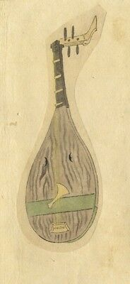 Shamisen Stringed Instrument - 19th-century Japanese watercolour painting