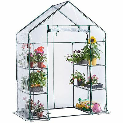 VonHaus Walk In Greenhouse PVC Plastic Garden Grow House 6 or 8 Shelves