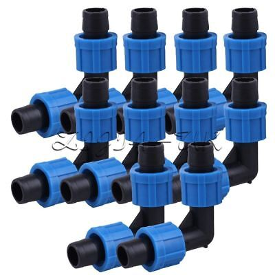 Green Perma-Loc Tape Tubing Elbow 16mm Drip Garden Irrigation Fitting Pack Of 10