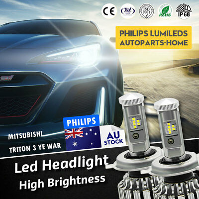 Pair Globes Led Headlight Bulbs Hi/Low Beam H4 for Mitsubishi Triton 3 Ye War