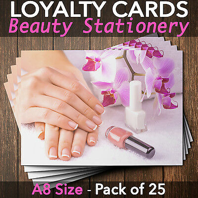 Loyalty Cards - Pack of 25 - nail technicians manicure nail bar A8 mini
