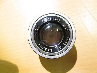 AICO Enlarger Lens 75mm f3.5 in dome case. with issues