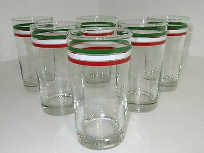 6 Vintage Libbey FESTA ITLAIANA High Ball Tumblers 8 oz GLASSES -- Flag of Italy
