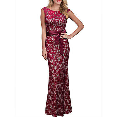 Fashion Womens Long Lace Evening Party Ball Gown Prom Bridesmaid Dress SizeM