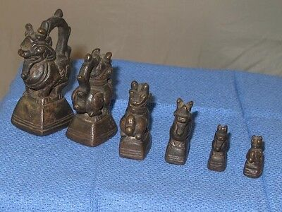 Burmese Opium Weights, Complete Set of 6 Rare Lion style weights,