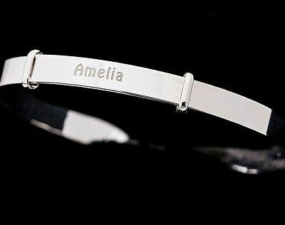 925 Sterling Silver Guardian Angel Expanding Bangle Personalised up to14 letters