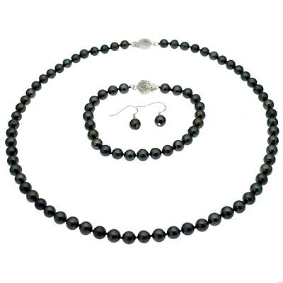 Pearl Necklace Bracelet and Earring Set Sterling Silver Round Cultured Pearls