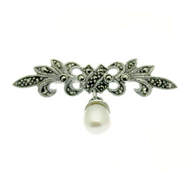 Pearl & Marcasite Pin Brooch Sterling Silver Freshwater Pearl Vintage Style