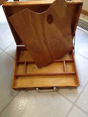 Vintage Wooden Artist's Painter's Dovetailed Box With Palette