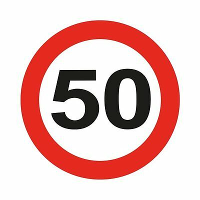 Traffic Sign 50th Party Badge Led Flash Birthday Novelty Gift Favour Favor