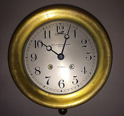 """Antique 6"""" Chelsea Ship's Bell Clock by Smith, Patterson Company, Boston"""