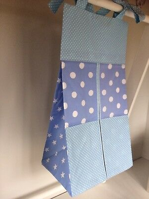 Blue Baby Nappy Stacker/Holder for a boy. Ideal baby shower gift.