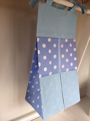 Blue Baby Nappy Stacker/Toy Holder for a boy. Ideal baby shower gift.