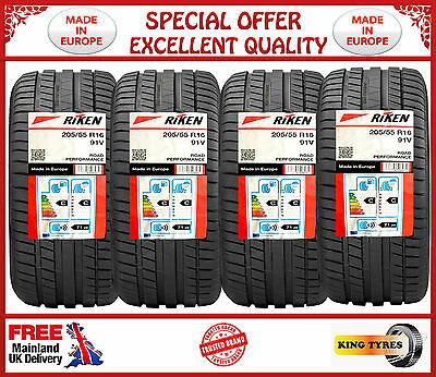 1,2,3,4 x 205/55R16 91V RIKEN MICHELIN MADE NEW TYRES HIGH PERFORMANCE TYRE.