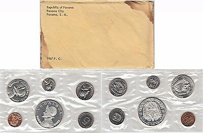 1967 Panama 6 Coin Proof Set Original Envelope