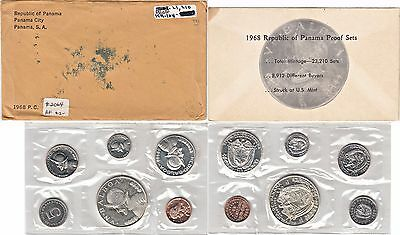 1968 Panama 6 Coin Proof Set OGP W/ COA Card