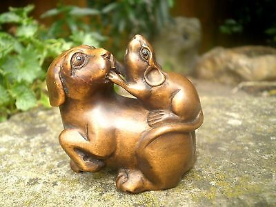 Hand Carved wood netsuke Dog & mouse playing, vintage / antique style figure