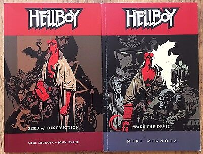 HELLBOY graphic novel TPB Volume 1 & 2 Seed of Destruction & Wake the Devil