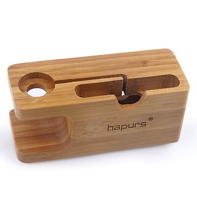 Apple Stand iWatch Charging Dock iPhone Charge Station Bamboo Wood Holder Hapurs