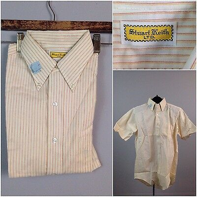 Vintage NOS 1960s White Stripe Ivy League Button Down Collar Button Down Shirt L