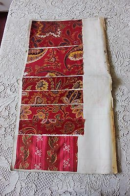 7 Turkey Red Fabric Samples On Original English Manufacturers Page c1899