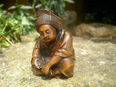 Hand Carved wood netsuke Geisha lady sitting, antique / vintage style figure