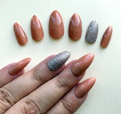 Hand Painted False Nails Stiletto (Or ANY SHAPE) Terracotta Nude Pink Bronze