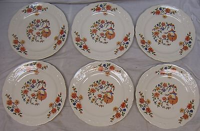 "6 Vintage ""the Edwin M Knowles"" Ivory 7"" Pie Plates W/ Floral Birdhouse Design"