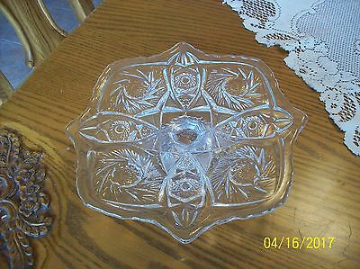 American Brilliant Style Pressed Cut Crystal Glass Pin Wheel Pattern Cake Plate