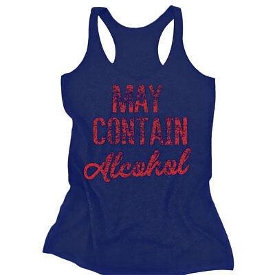 MAY CONTAIN ALCOHOL Women Casual Tee Sleeveless Tank Top Vest Blouse T Shirt NEW