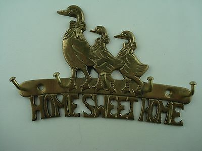Vintage brass key holder Home Sweet Home  ~ Family Of Geese