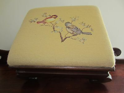 VTG Cmp Petite Point Needlework~Birds/Blooming Flower Branches~Wood Foot Stool~