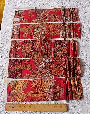 5 Turkey Red Fabric Samples On Original English Manufacturers Page c1899