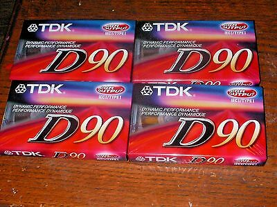 LOT OF 4 TDK D90 HIGH OUTPUT Blank Audio Cassette Tape SEALED