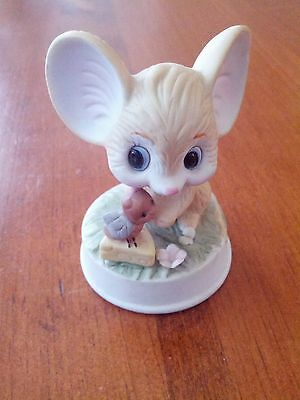 Vintage Porcelain Bisque Napcoware Mouse With Bug Friend And Cheese