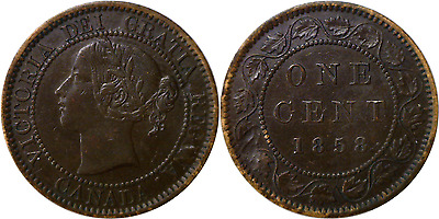 1858 Canada 1C Large Cent Extra Fine