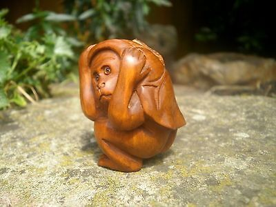 Hand Carved wood netsuke monkey under a leaf, vintage / antique style figure