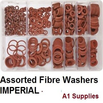 Assorted Box of Fibre Washers Imperial (3/16 - 3/4) 8 Sizes Classic British AT25