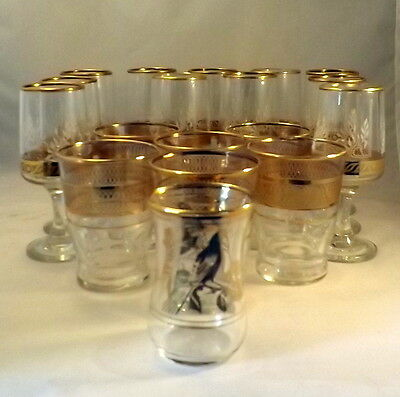 Collection of Vintage 'Dema' Gilded Glassware (18 items)